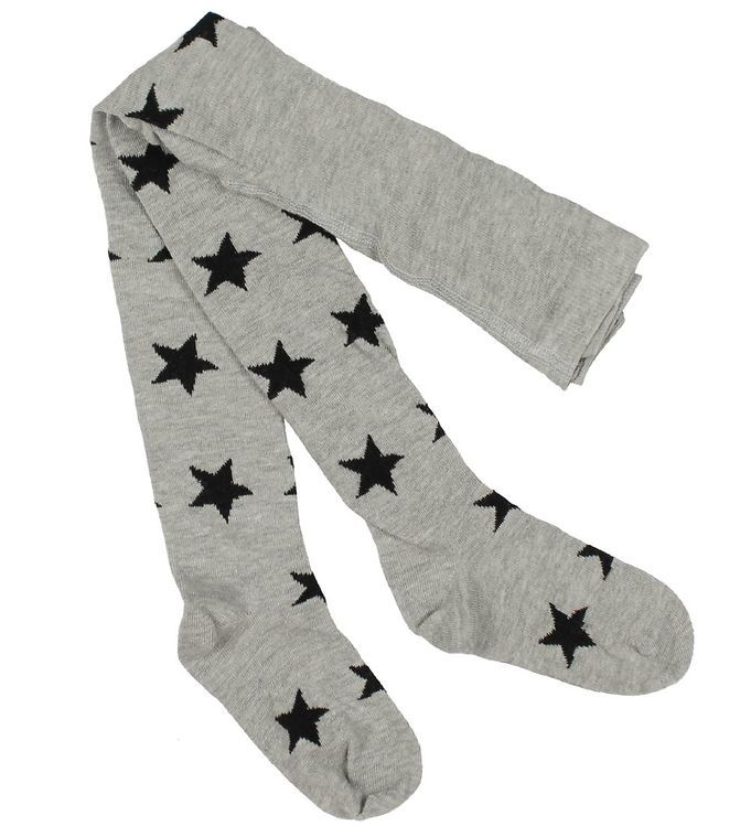 minymo Minymo strømpebukser - gråmeleret m. stjerner fra kids-world