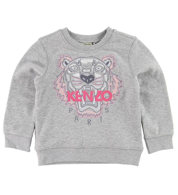 kenzo Kenzo sweatshirt - gråmeleret m. tiger på kids-world