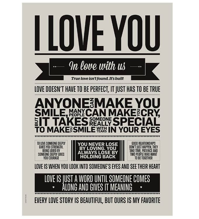 Image of I Love My Type Plakat - A3 - I Love You - Warm Grey (ME722)