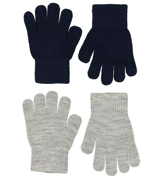 Melton Handsker – 2-pak – Strik – Gråmeleret/Navy