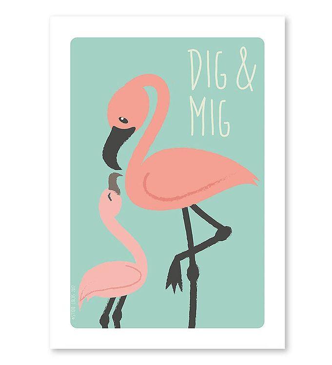 Image of Studio Circus Plakat - A4 - Flamingoer m. Dig & Mig (MF568)