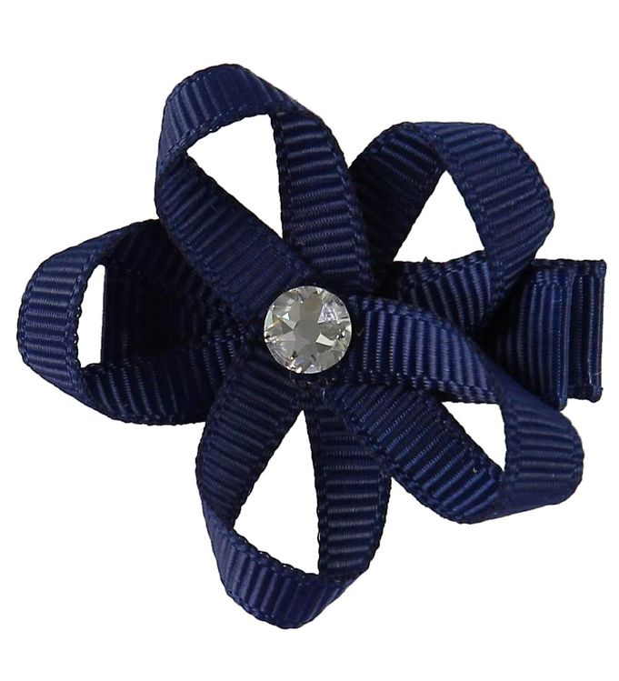 Image of Little Wonders Hårblomst - Ingrid - 4 cm - Grosgrain - Navy (MF749)