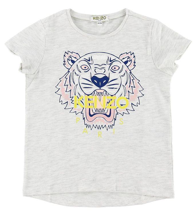 Kenzo T shirt Gråmeleret m. Tiger