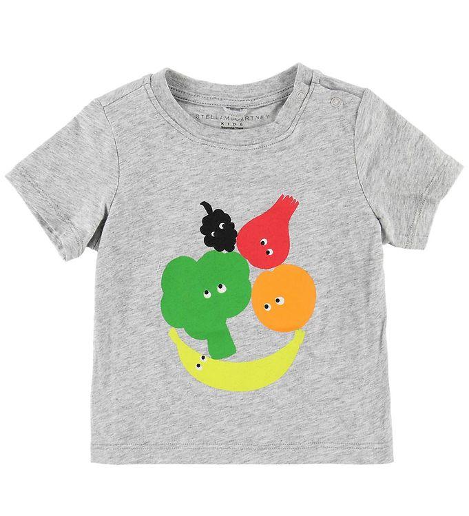 Image of Stella McCartney Kids T-shirt - Gråmeleret m. Frugt & Grønt (MJ228)