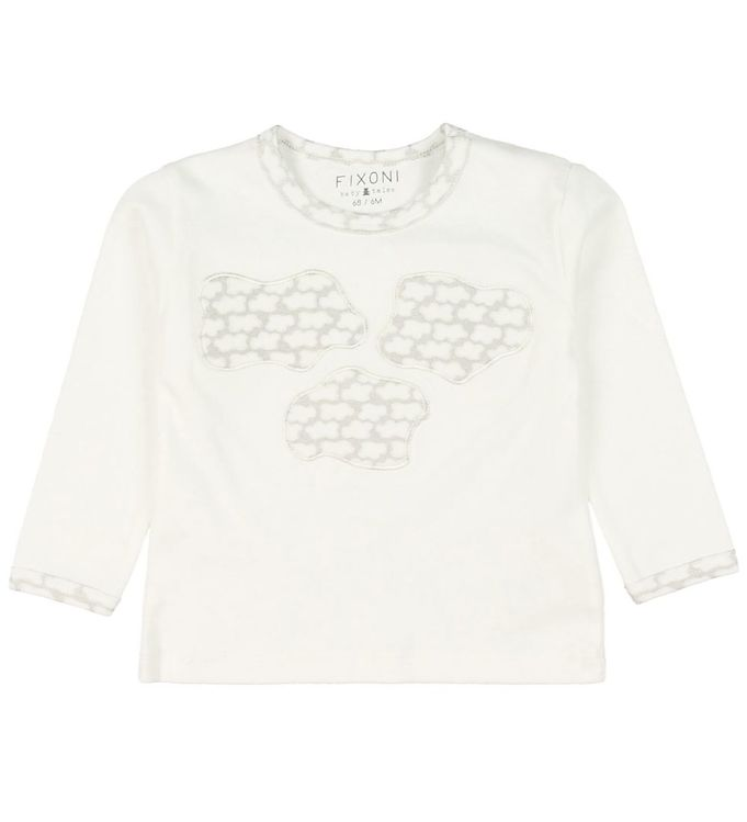 Image of Fixoni Bluse - Off White m. Skyer (MK847)