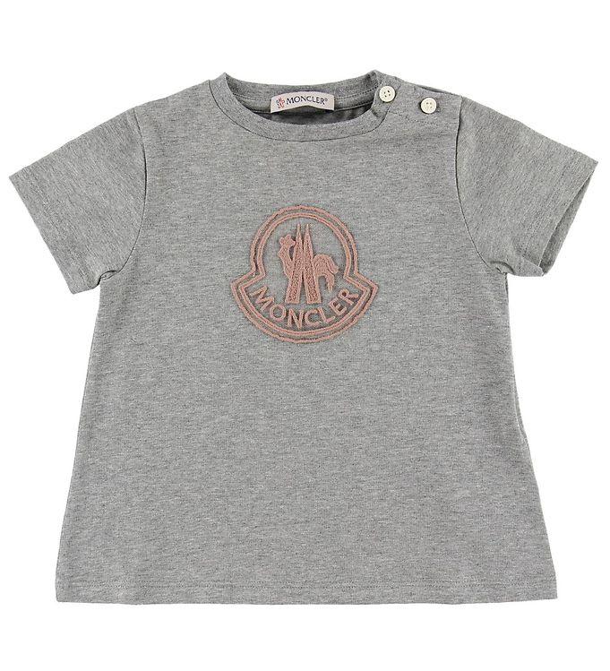 Image of Moncler T-shirt - Gråmeleret m. Rosa Logo (ML416)