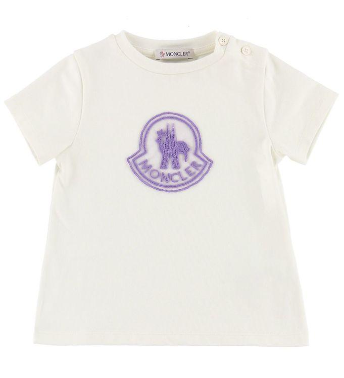 Image of Moncler T-shirt - Hvid m. Lavendel Logo (ML914)