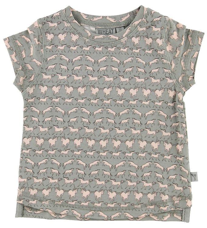 Image of Wheat T-shirt - Nicola - Light Grey m. Heste (MN224)