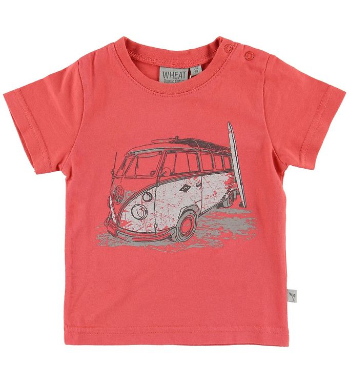 Image of Wheat T-shirt - Surf Car - Spiced Coral (MN228)