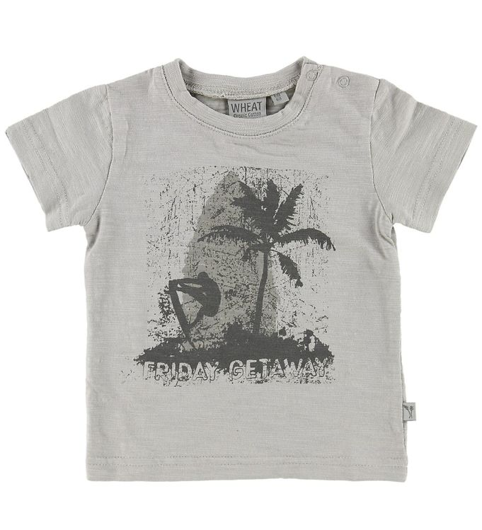Image of Wheat T-shirt - Light Grey m. Surfer (MN237)