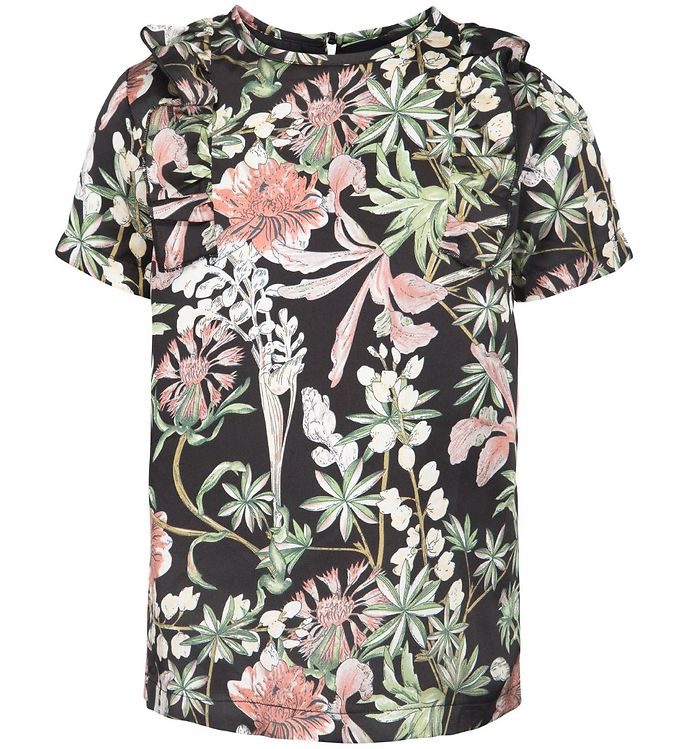 12827cdcc0b Petit by Sofie Schnoor T-shirt - Sort m. Blomster