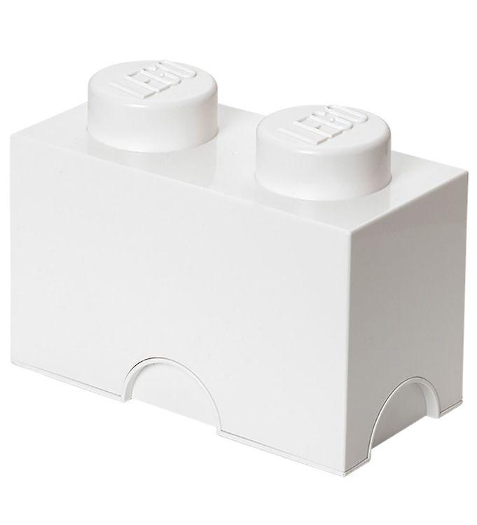 Image of Lego Storage Opbevaringskasse - 2 Knopper - 25x13x18 cm - Hvid (MQ156)