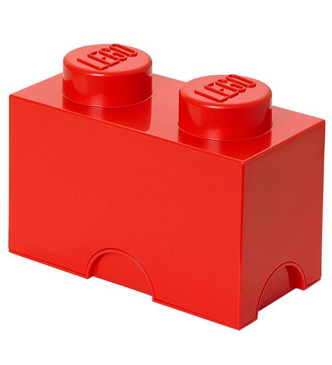 Image of Lego Storage Opbevaringskasse - 2 Knopper - Rød (MQ158)