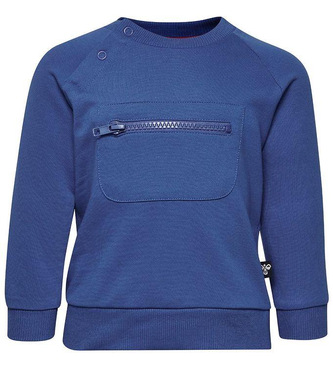 Hummel Sweatshirt - Vinnie - Blå m. Vinkler - 09 - Hummel,AA - Hummel,AA - Mellemstation,Drengetøj,Hummel Bluse,Hummel SS19,Hummel Sweatshirt,Hummel Tilbud,Hummel Udsalg,Pigetøj,Unisex - Hummel