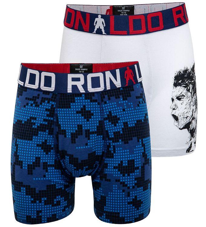 Image of Ronaldo Boxershorts - 2-pak - Hvid/Blå m. Print (MR945)