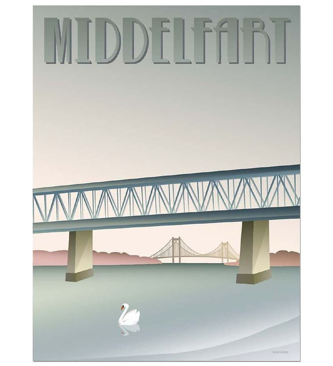 Image of Vissevasse Plakat - 30x40 - Middelfart - Den Gamle Bro (MS682)