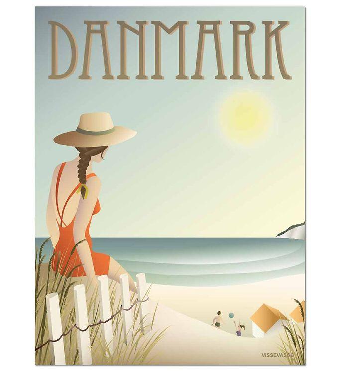 Image of Vissevasse Plakat - 30x40 - Danmark - Stranden (MS689)