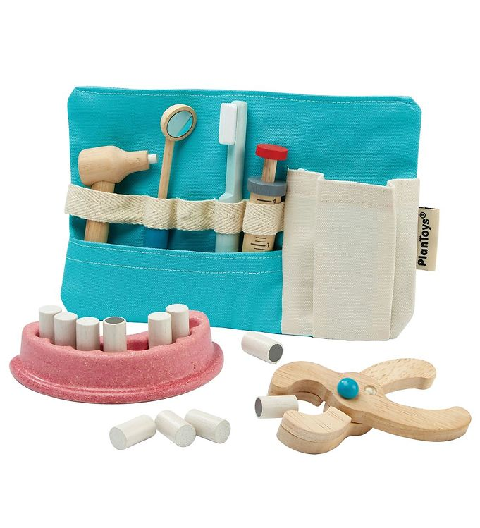 PlanToys Tandlægesæt - Blå - PlanToys Babylegetøj,PlanToys Legetøj,PlanToys Trælegetøj - PlanToys