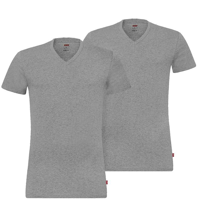 Image of Levis T-shirt - 2-pak - V-Neck - Gråmeleret (MT600)