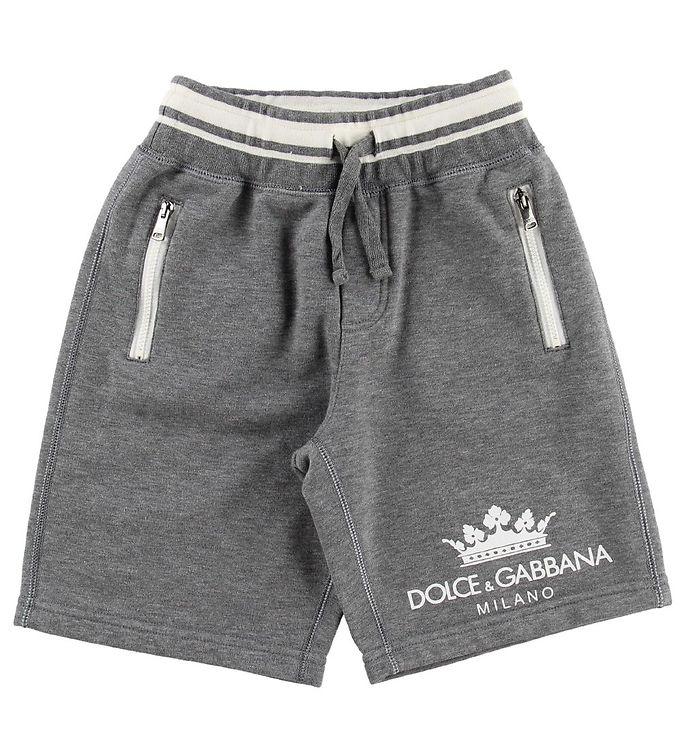 Dolce & Gabbana Shorts - Sweat - Gråmeleret m. Logo