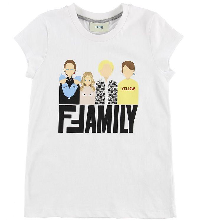 Image of Fendi Kids T-shirt - Hvid m. Fendi Family (MU119)