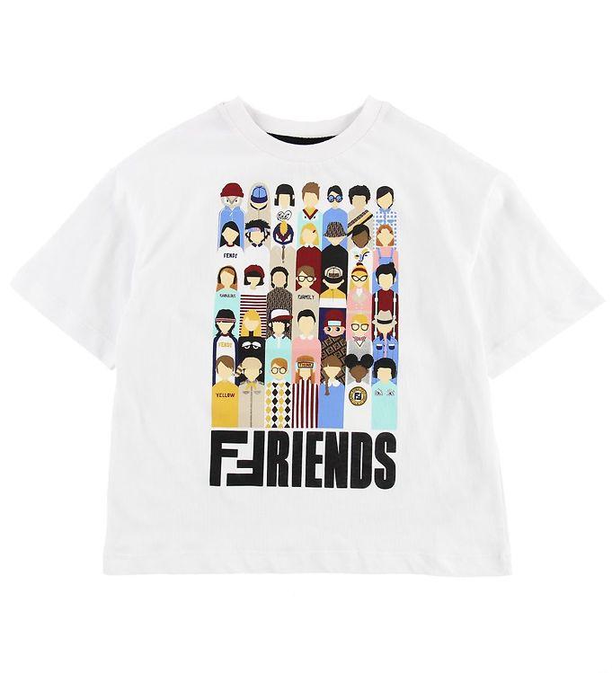 Image of Fendi Kids T-shirt - Hvid m. Fendi Family (MU124)