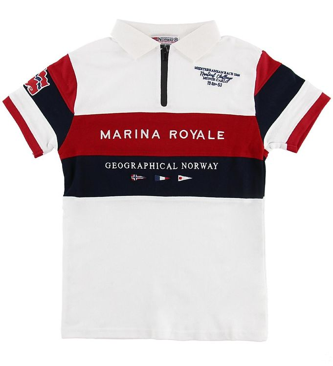 Image of Geographical Norway Polo - Kartimi - Hvid m. Print (MU545)