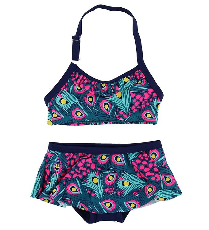 Image of Color Kids Bikini - Tracy - UV40 - Navy/Pink m. Påfuglefjer (MU980)