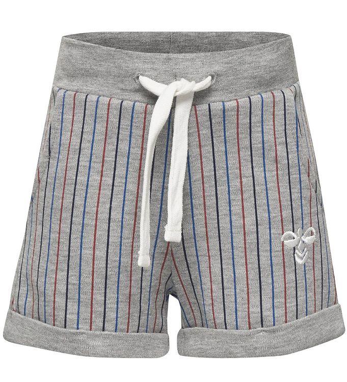 Hummel Sweatshorts - HMLZane - Gråmeleret m. Striber - 09 - Hummel,AA - Hummel,Drengetøj,Hummel Shorts,Hummel SS19,Hummel Tilbud,Hummel Udsalg - Hummel