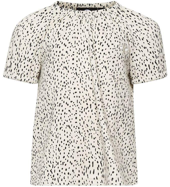 Hummel T-shirt - HMLIrene - Creme m. Mønster - 09 - Hummel,AA - Hummel,Hummel SS19,Hummel T-shirt,Hummel Tilbud,Hummel Udsalg,Pigetøj - Hummel