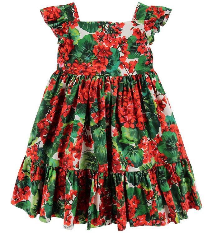 2be11e4469ab Dolce   Gabbana Kjole - Portofino - Rød Grøn m. Blomster