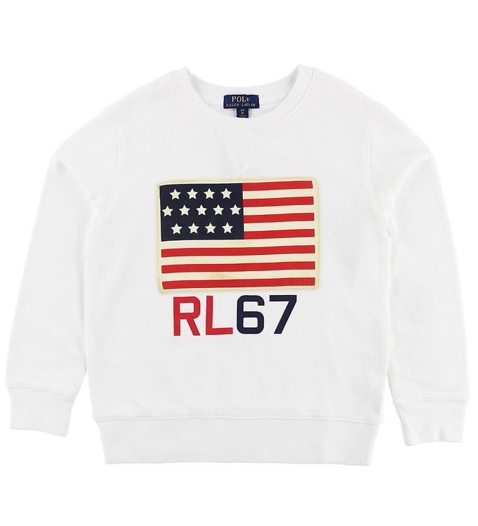Polo Ralph Lauren Sweatshirt - Hvid m. Flag