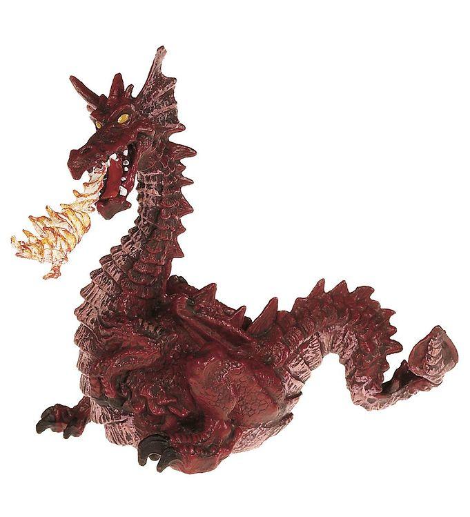 Image of Papo Bordeaux Drage m. Ild - H: 11 cm (MX510)