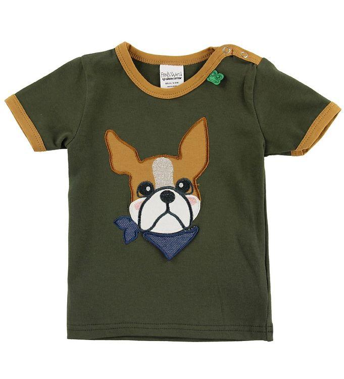 Image of Freds World T-shirt - Armygrøn m. Bulldog (MX766)