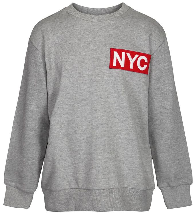 Image of Schnoor Sweatshirt - Mads - Gråmeleret m. NYC (ND413)