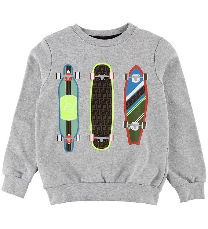 Image of Fendi Sweatshirt - Gråmeleret m. Skateboards (ND639)