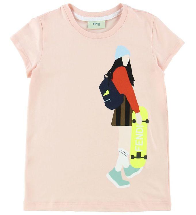 Image of Fendi T-shirt - Rosa m. Skaterpige (ND645)