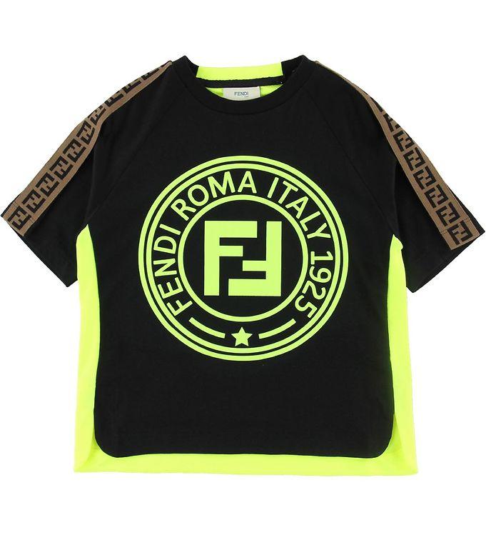 Image of Fendi T-shirt - Sort/Neongul m. Logo (ND646)