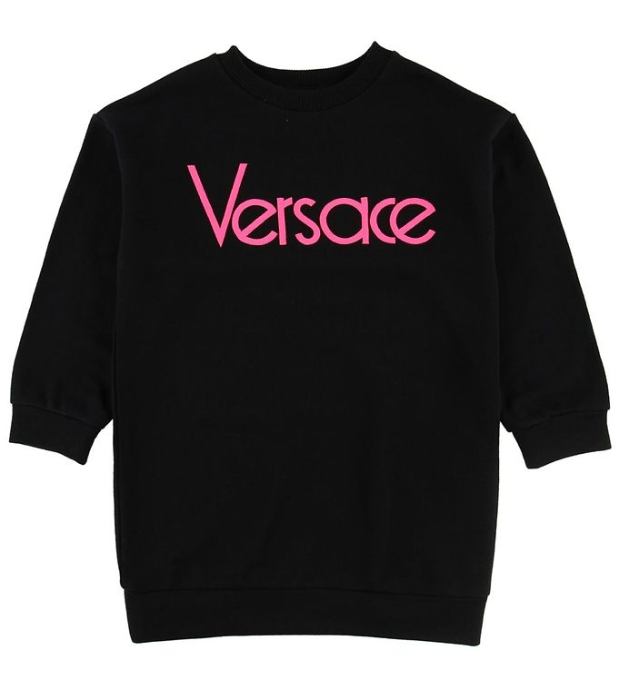 Image of Versace Sweatkjole - Sort/Neonpink m. Tekst (NE742)