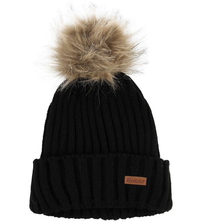 Image of Hulabalu Hue - Strik - Fur Beanie - Sort (NF054)