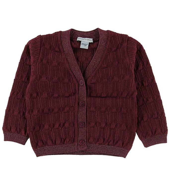 Image of MP Cardigan - Uld/Bomuld - Bordeaux m. Glimmer (NF917)