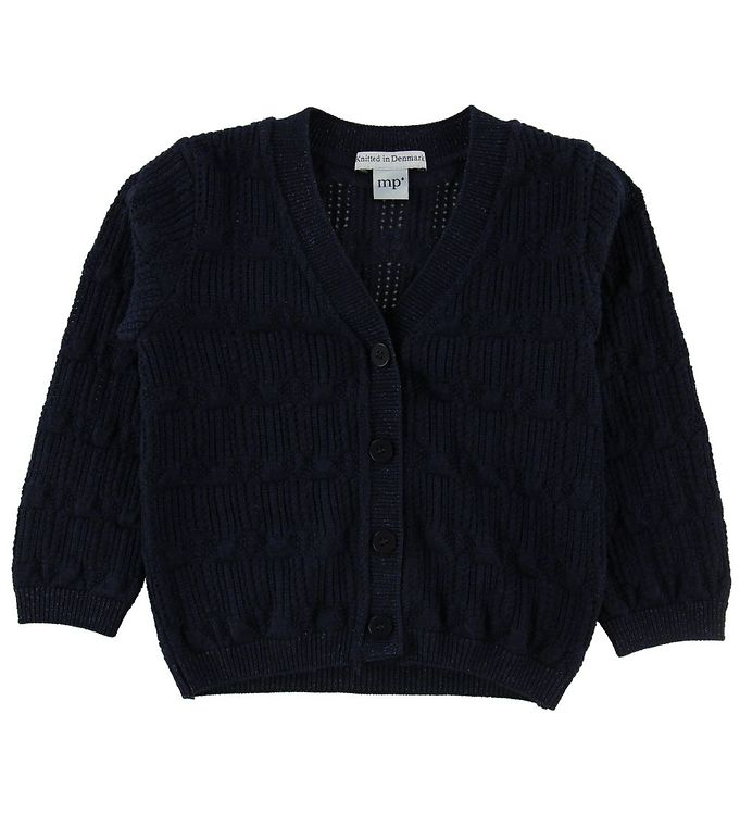 Image of MP Cardigan - Uld/Bomuld - Navy m. Glimmer (NF918)