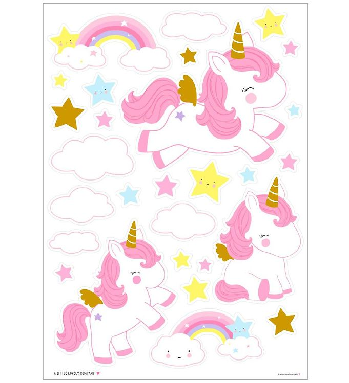 Image of A Little Lovely Company Wallstickers - 35x50 cm - Unicorn Gold (NI501)