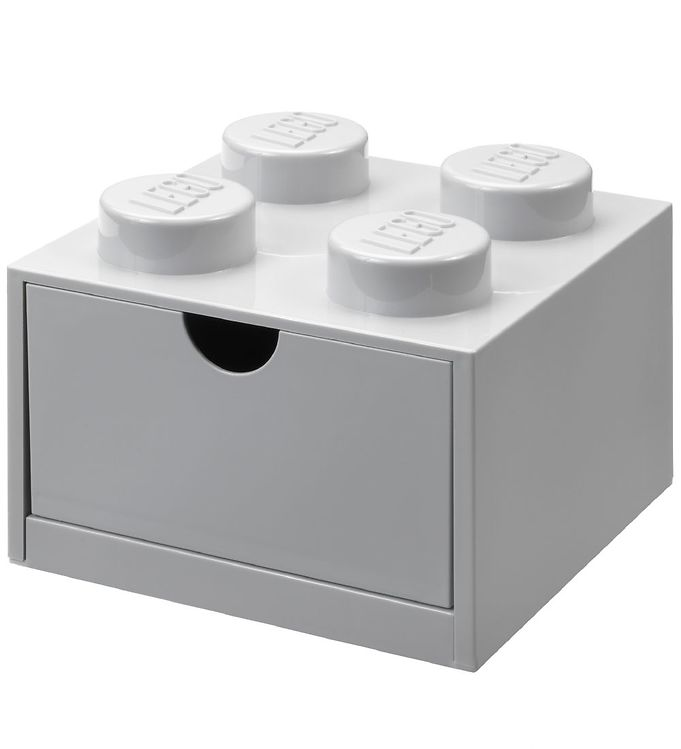 Image of Lego Storage Opbevaringsskuffe - 4 Knopper - 15,5x15,5 cm - Grå (NI508)