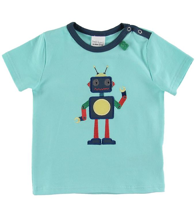 Image of Freds World T-shirt - Hello Robot - Aqua (NJ343)