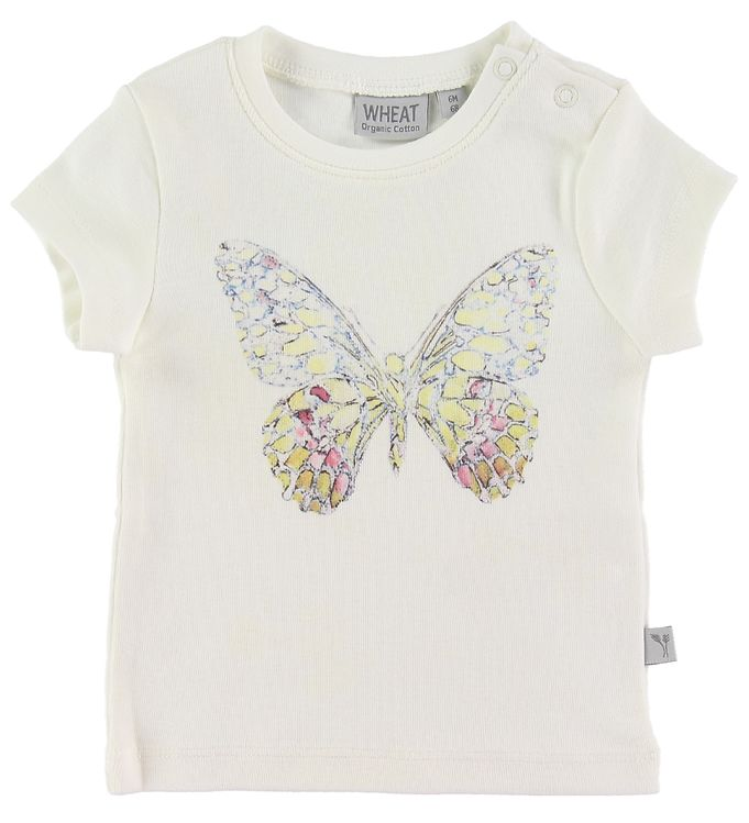 Image of Wheat T-shirt - Butterfly - Ivory (NJ702)