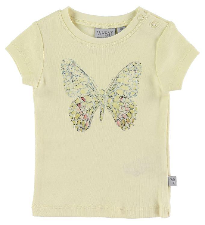 Image of Wheat T-shirt - Butterfly - Lemon Curd (NJ703)