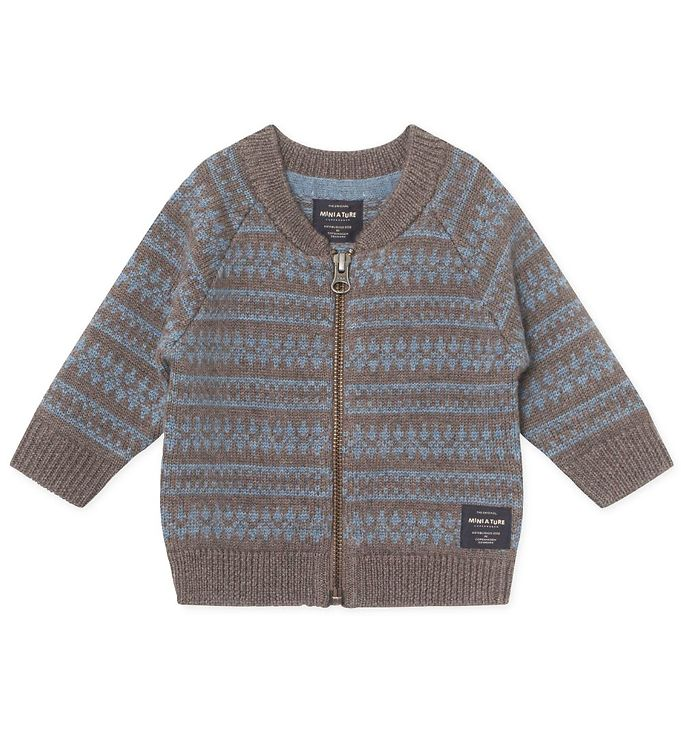 Mini A Ture Cardigan - Uld - Maximus - Brown Melange m. Blå