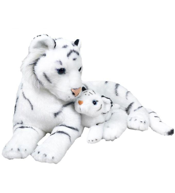 Image of Wild Republic Bamse - 30x26 cm - Mor & Baby - Hvid Tiger (NM575)