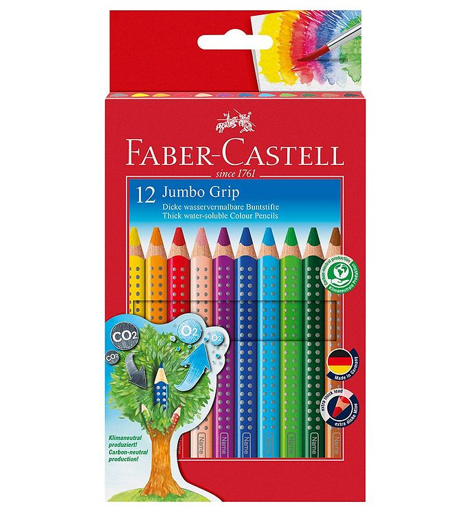 Image of Faber-Castell Farveblyanter - Jumbo Grip - Akvarel - 12 stk - Mu (NN509)